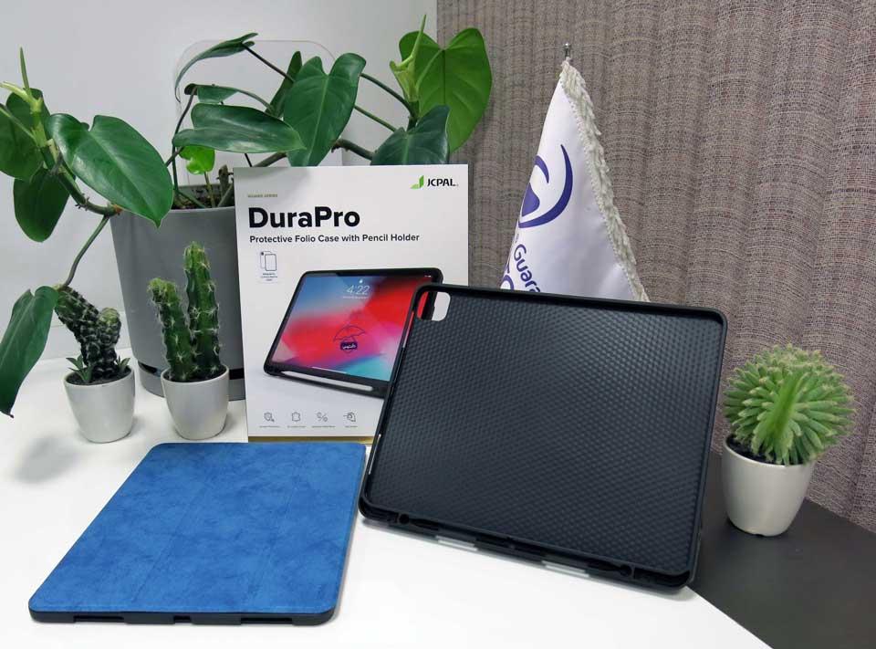کاور آیپد پرو 12.9 اینچ 2020 در رنگ های مشکی، خاکستری، آبی JcPal مدل DuraPro